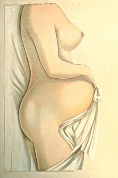 This very pregnant figure models very nearly perfect posture