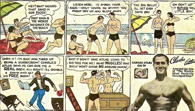 Charles Atlas ads, launched in the 1940s, ran in comic books and boys' magazines for decades