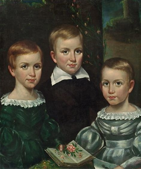 The Dickinson children painted by O. A. Bullard circa 1840; Emily is on the left