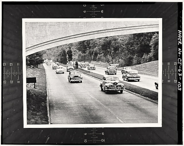 Merritt Parkway near Fairfield, CT town line circa 1949