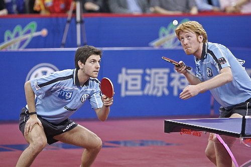 German table tennis players Timo Boll and Christian Suss are laser-focused on the ball