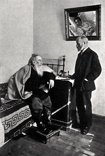"""The Last Illness,"" Leo Tolstoy in his bedroom talking with Dr. Makovitski, 1910"